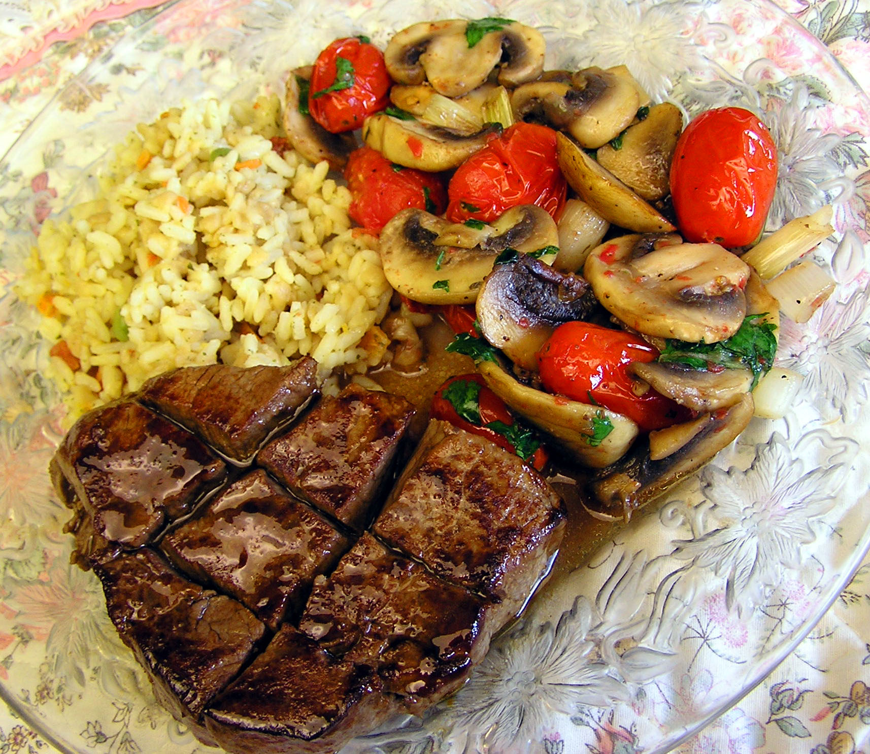 Homestyle Steak Dinner With Rice And Mushrooms